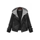 Oversized Contrast Hooded Notched Lapel Zipper Placket False Two-Piece PU Jacket