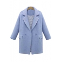 Women's Single Button Long Sleeve Lapel Collar Winter's Wool Coat