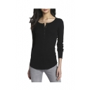 Women's Thermal Long Sleeve Henley Tee