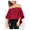 Women's Off Shoulder Tops Fashion Shirt Casual Strapless Blouses
