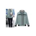 Women's Fashion Stand-Up Collar Zip Placket Basic Sweatshirt Coat