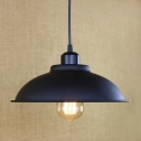 11'' Width Simple Industrial Style Hanging Light with Dome Shade in Black