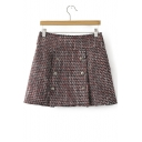 Women's Winter New Style Plaid Print Double Breasted A-Line Mini Skirt