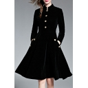 Women's Fashion Winter Long Sleeve Velvet Warm A-Line Midi Dress