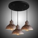 Classic Industrial Style Barn Shaped Metal Shade Multi-Light Pendant