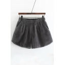 Fashion Elastic High Waist Plain Wide Leg Shorts