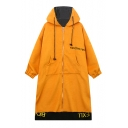 New Hooded Zipper Placket Embroidery Letter Patchwork Contrast Back Tunic Coat