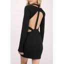 Fashion V-Neck Open Back Long Sleeve Women's Sexy Bodycon Mini Dress