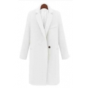 Women's Single Button Lapel Collar Winter Warm Wool Coat