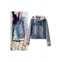 Women Layered Drawstring Hood Denim Jacket with Pockets