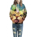 Unisex Simulation Printing Cat Pocket Hooded Sweatshirt