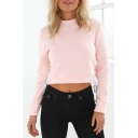 New Stylish Split Tied Sides Plain Cropped Pullover Sweatshirt