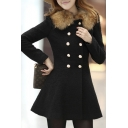 Elegant Fur Contrast Round Neck Double Breasted Long Sleeve Plain Tunic Coat