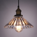 Single Light Industrial Crystal Glass Shade Bedroom Lighting Vintage Pendant