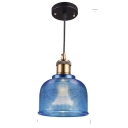 Blue Glass Shade One Light Industrial Hanging Ceiling Fixture for Bars