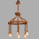 Down Light Natural Rope Chandelier in Vintage Style with 6 Bulb