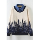New Color Block Cartoon Fish Print Faux Two-piece Sweatshirt