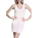 Women's Sexy Deep V Neck Sequin Glitter Bodycon Stretchy Mini Party Dress