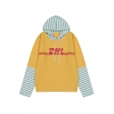 Striped Letter Print Color Block Long Sleeve Women's Hoodie