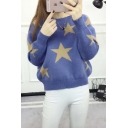 New Stylish Star Pattern Round Neck Long Sleeve Pullover Sweater