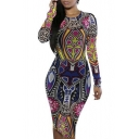 omen Sexy Traditional African Print Dashiki Bodycon Sexy Short Sleeve Dress