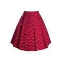 Women's Fashion Polka Dot Print High Rise A-Line Midi Skirt