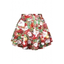 Women's Holiday Season Christmas Santa Xmas Print Mini Flared Tutu Skirt