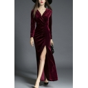 Sexy V-Neck Wrap Front Split Side Plain Maxi Party Dress