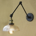 One Light Barn Shaped Indoor Wall Sconce with Ribbed Glass Shade