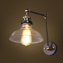 Industrial Single Light Wall Sconce with Clear Glass Shade