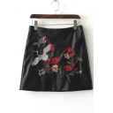 Floral Bird Embroidery Women's Chic PU A-Line Mini Skirt
