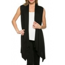 Women's Sleeveless Open Front Solid Color Knit Cardigan