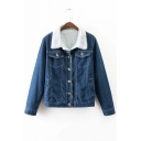 New Contrast Lapel Single Breasted Wool Inside Denim Jacket with Long Sleeve