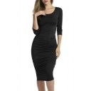 Women's Sexy Stretchy Ruched Bodycon Midi Party Cocktail Dress