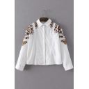 Floral Embroidery Long Sleeve Peter Pan Collar Women's Shirt