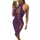 Womens Sexy Halter Hollow Out Lace Up Bodycon Bandage Club Dress