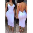 Women's Bodycon Dress Sexy V Neck Sleeveless Backless Night Club Dress