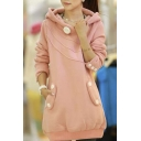 Chic Hooded Plain Long Sleeve Tunic Pullover Coat with Buttons