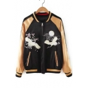 New Stylish Embroidery Crane Stand-Up Collar Contrast Raglan Long Sleeve Zipper Reversible Bomber Jacket