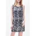 Women's A-Line Mini Dress Round Neck Sleeveless Printed Dress