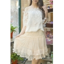 Women's Sweet Lace Skirt High Rise A-Line Basic Puff Skirt