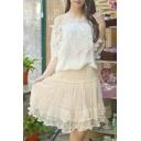 Women's Sweet Lace Skirt High Rise A-Line Basic Puff Skirt