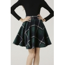 Women's High Waisted Wool Check Print Plaid A-line Skirt
