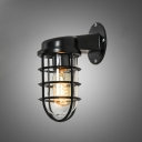 Classic Practical Metal Frame Industrial Wall Sconces in Black Finish