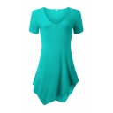 Women's Short Sleeve V-Neck Tunic Top With Handkerchief Hem
