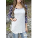 Women's Contrast Floral Printed Raglan 3/4 Length Sleeve Tunic T-Shirt Top