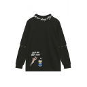 Loose Letter Printed Embroidery Cartoon Pullover Sweatshirt
