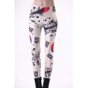Women's High Waist Nation Flag Printed Ankle Elastic Tights Legging