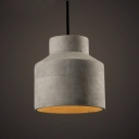 Round Concise Style Cement Indoor Hanging Pendant in Grey
