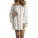 Women's Sexy Off Shoulder Chiffon Boho Ruffle Sleeve Blouse Mini Dress